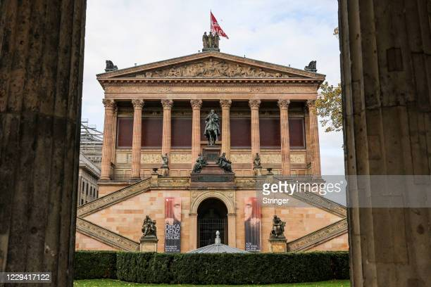 View of the closed Neues Museum on the first day of a four-week semi-lockdown during the second wave of the coronavirus pandemic on November 2, 2020...