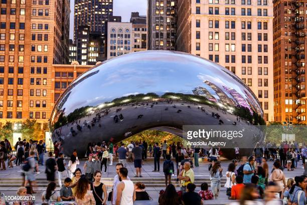 A view of the Cloud Gate in Chicago United States on July 24 2018 The sculpture is nicknamed The Bean because of its shape Made up of 168 stainless...