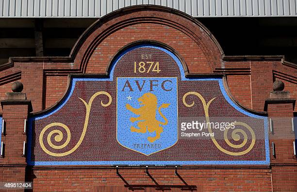 A view of the club badge before the Barclays Premier League match between Aston Villa and West Bromwich Albion at Villa Park stadium on September 19...