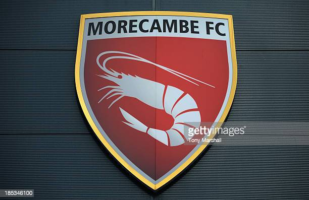 A view of the club badge outside of the Globe Arena home of Morecambe FC before the Sky Bet League Two match between Morecambe and AFC Wimbledon at...