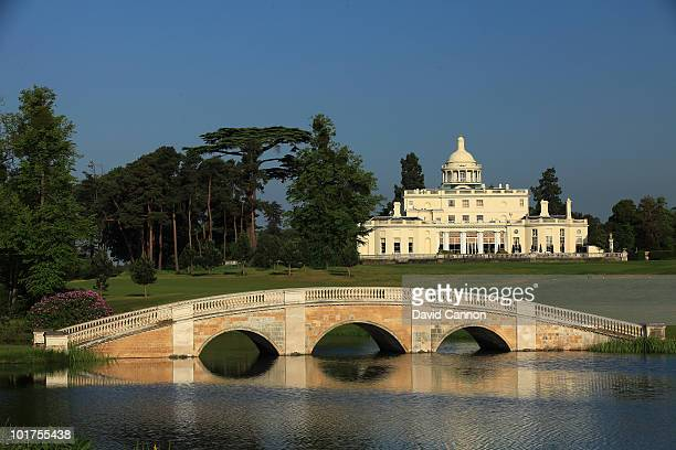 A view of the Clubhouse from the side of the lake at The Stoke Park Club on June 4 in Stoke Poges England