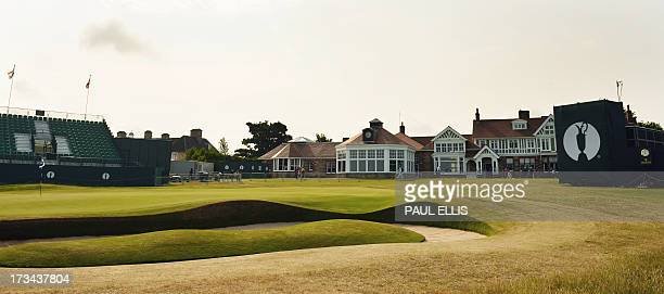 View of the clubhouse in the afternoon sunshine during practice for the 2013 British Open Golf Championship at Muirfield Golf Course in Gullane...