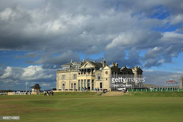 A view of the clubhouse of the Royal and Ancient Golf Club of St Andrews and the 18th green and first tee on the Old Course at St Andrews venue for...