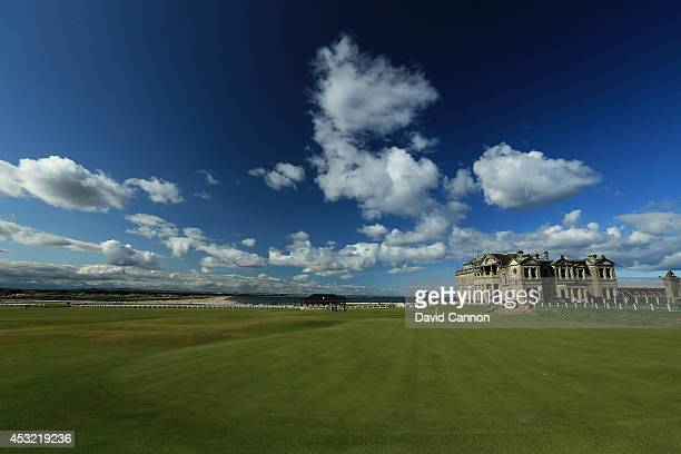 A view of the clubhouse of the Royal and Ancient Golf Club of St Andrews from the fairway with the 18th green and the first tee on the Old Course at...