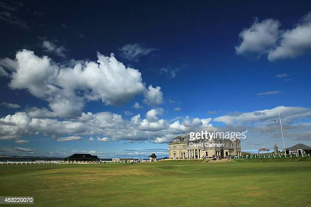 View of the clubhouse of the Royal and Ancient Golf Club of St Andrews, with the 18th green and the first tee on the Old Course at St Andrews venue...