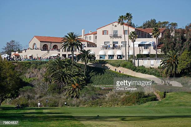 View of the clubhouse overlooking the first hole during the third round of the Northern Trust Open held on February 16, 2008 at Riviera Country Club...