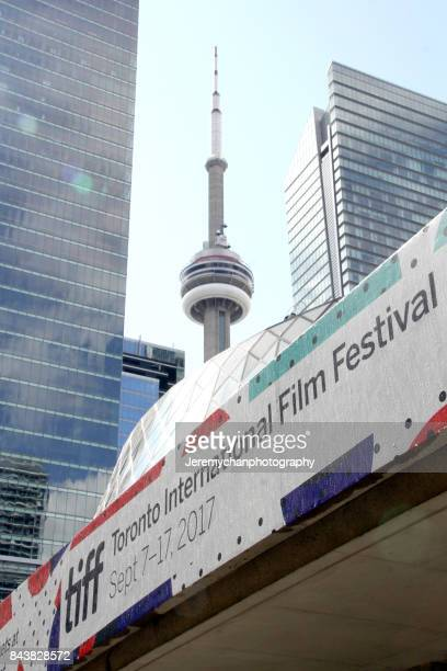 A view of the CN Tower during the 2017 Toronto International Film Festival on September 7 2017 in Toronto Canada