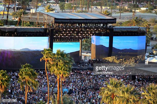 A view of the Coachella Stage on day 2 of the 2016 Coachella Valley Music Arts Festival Weekend 1 at the Empire Polo Club on April 16 2016 in Indio...