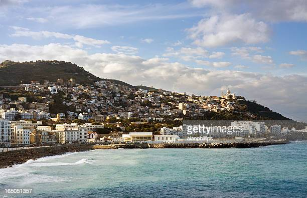 view of the coast across the bay of algiers - algiers algeria stock pictures, royalty-free photos & images