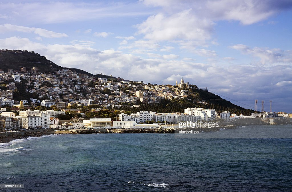 View of the coast across the bay of Algiers : Stock Photo