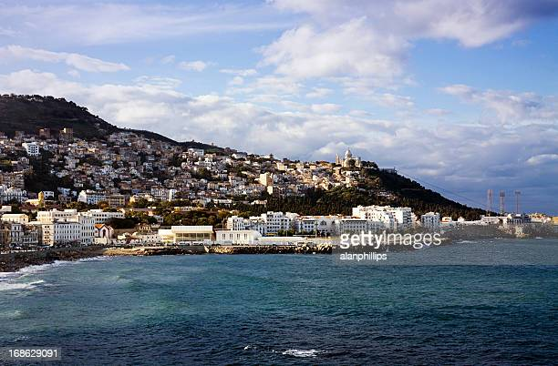 view of the coast across the bay of algiers - algeria stock pictures, royalty-free photos & images
