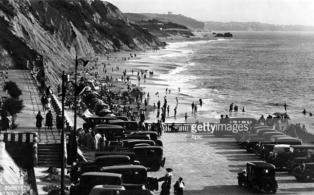 view of the coast in Biarritz c 1939 postcard