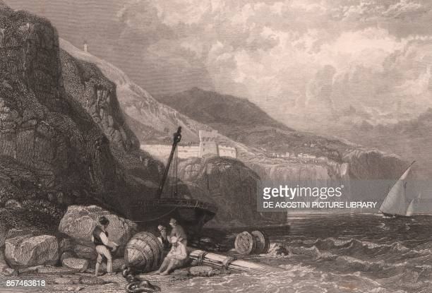 View of the coast near Vico Equense in the Gulf of Naples Campania Italy steel engraving by J Allen after a drawing by James Duffield Harding ca...