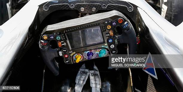 View of the cockpit of a racing car of the Scuderia Ferrari F1 team in the pits of the Formula One Brazilian Grand Prix in Sao Paulo Brazil on...