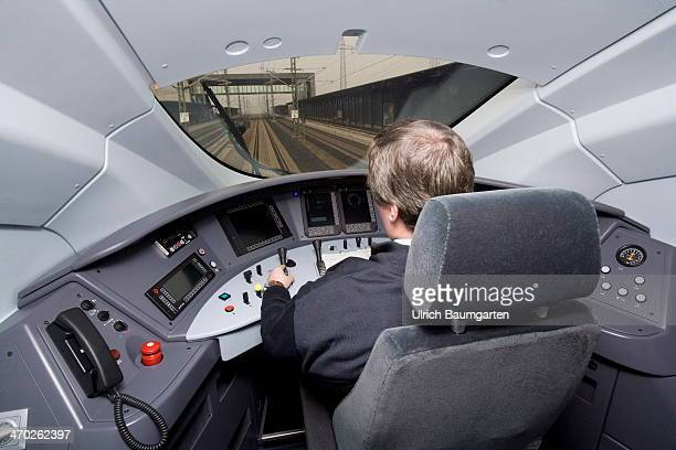 A view of the cockpit of the new ICE 3 Series 407 Deutsche Bahn highspeed train travelling on the CologneFrankfurt highspeed railway during a media...