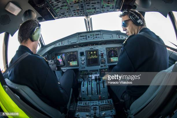 View of the cockpit of the White Airways ATR 72u2013600 airplane the company flies for TAP Express en route from Evora to Viseu on the second day of...