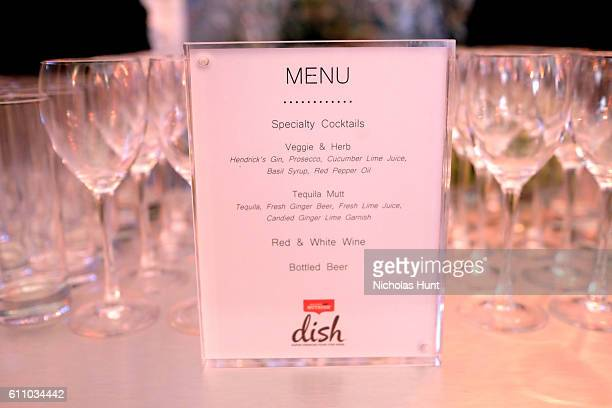 View of the cocktail menu is seen during the celebration of the launch of Rachael Ray's Nutrish DISH with a Puppy Party on September 28, 2016 in New...