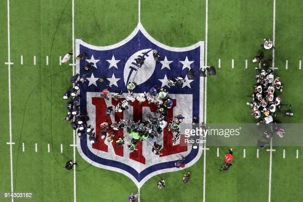 A view of the coin toss prior to Super Bowl LII between the New England Patriots and the Philadelphia Eagles at US Bank Stadium on February 4 2018 in...