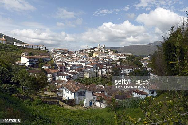 View of the colonial city of Ouro Preto in Minas Gerais Brazil on June 19 2014 Founded at the end of the 17th century Ouro Preto was originally...