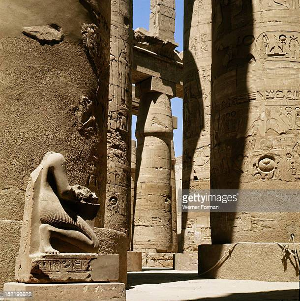 View of the colonnade at the temple of Amun Karnak Egypt Ancient Egyptian 19th dynasty 1295 1186 BC Karnak