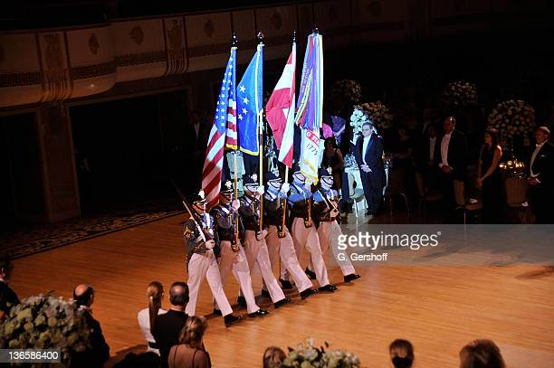 View of the Color Guard, U.S. Military Academy, West Point during the 56th annual Viennese Opera Ball at The Waldorf=Astoria on February 4, 2011 in...