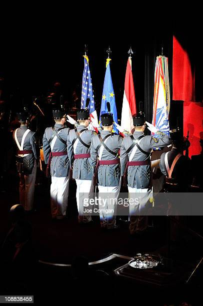 A view of the color guards from US military Academy of West Point at the 56th annual Viennese Opera Ball at The Waldorf=Astoria on February 4 2011 in...