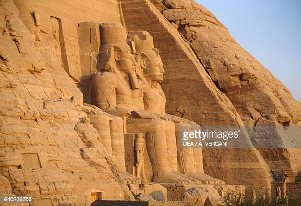 View of the colossal statues of enthroned Ramses II, Great Temple of Ramses II, Abu Simbel , Egypt. Egyptian civilisation, New Kingdom, Dynasty XIX.