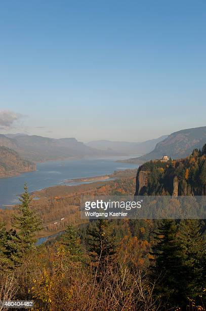 View of the Columbia River gorge with the Vista House in the fall from the Women's Forum State Park near Portland in Oregon USA
