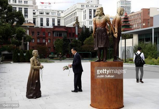 A view of the 'Comfort Women' Column of Strength statue on October 3 2018 in San Francisco California Osaka Japan Mayor Hirofumi Yoshimura announced...