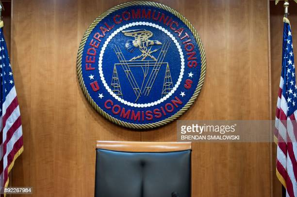 A view of the commission's hearing room before a hearing at the Federal Communications Commission on December 14 2017 in Washington DC / AFP PHOTO /...