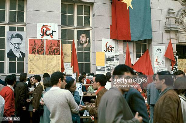 View Of The Communist Stands That Occupied The Sorbonne During The Student Protests Of May 1968 In Paris Portraits Of Leon Trotski And Ernesto...