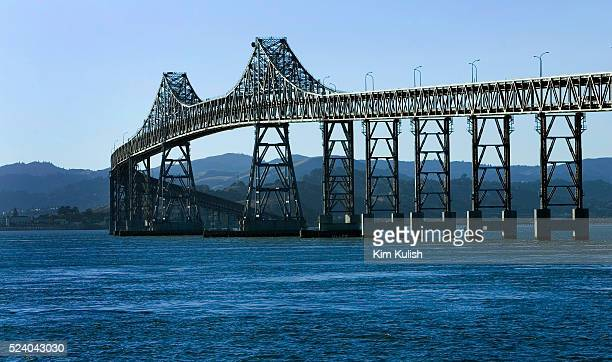 View of the completed seismically retrofitted Richmond-San Rafael Bridge spanning the San Francisco Bay. The 4 year project included pier...