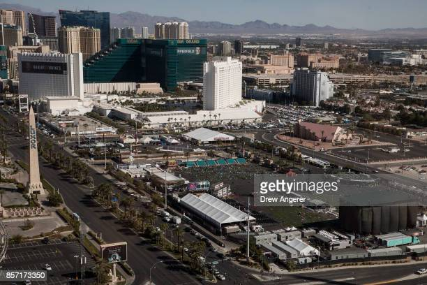 A view of the concert venue and the site of the mass shooting at the Route 91 Harvest Festival October 3 2017 in Las Vegas Nevada The gunman...