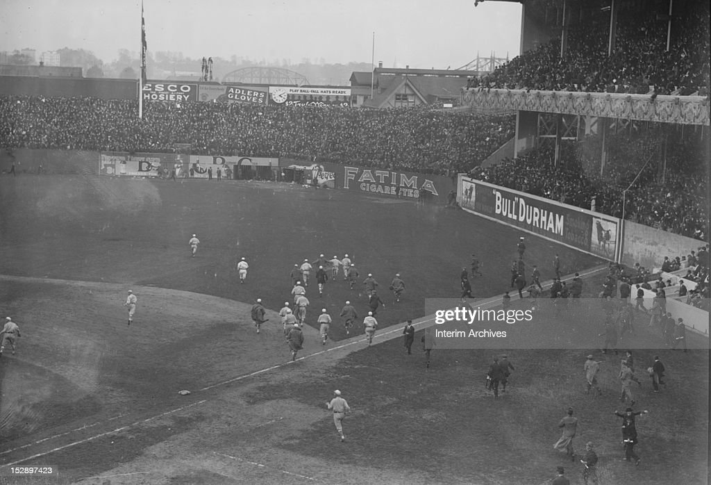 View of the conclusion of game three of the 1913 World