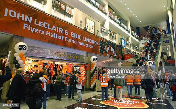 A view of the concourse prior to the Hall of Fame Inductions of John LeClair and Eric Lindros of the Philadelphia Flyers prior to a game against the...