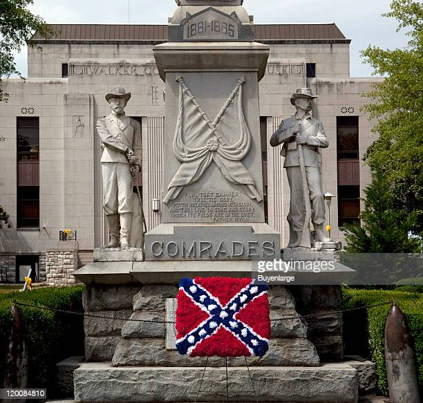 View of the Confederate memorial with an added Confederate flag made out of flowers Jasper Alabama 2010