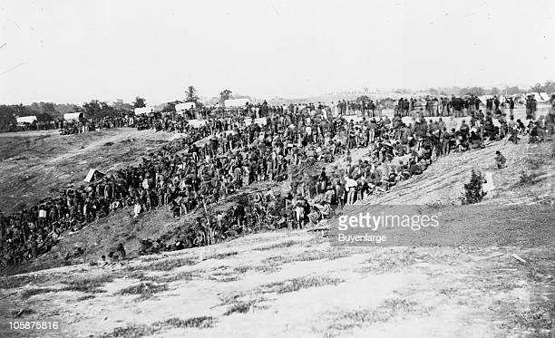 View of the Confederate prisoners gathered at Belle Plain Landing VA who were captured with Johnson's Division May 12 1864