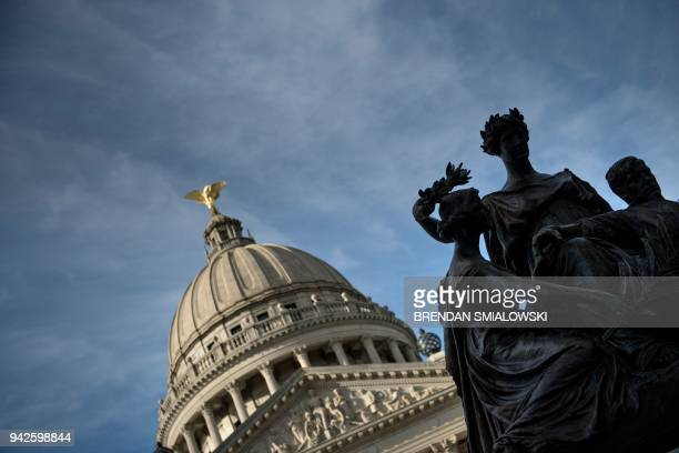 TOPSHOT A view of the Confederate women's' memorial on the grounds of the Mississippi State Capitol April 5 2018 in Jackson Mississippi / AFP PHOTO /...