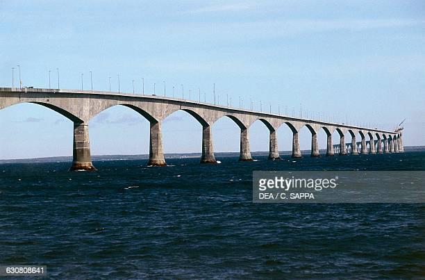 View of the Confederation Bridge between BordenCarleton Prince Edward Island and Cape Jourimain New Brunswick Canada 20th century