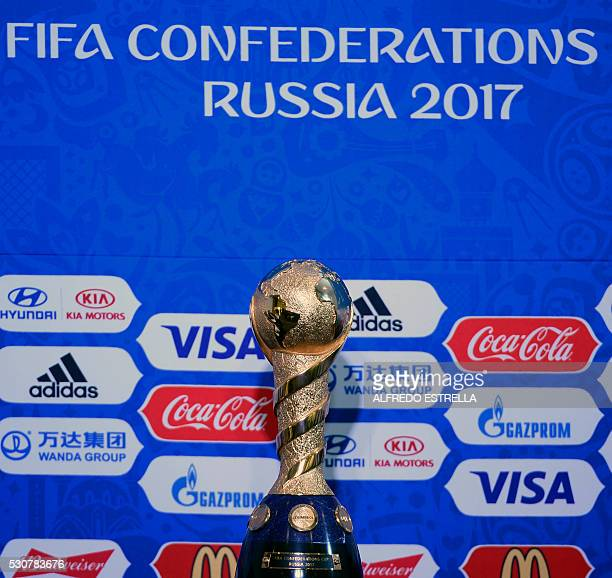 View of the Confederations Cup 2017 trophy during a press conference on the eve of the 66th FIFA Congress in Mexico City on May 11 2016 Congress will...