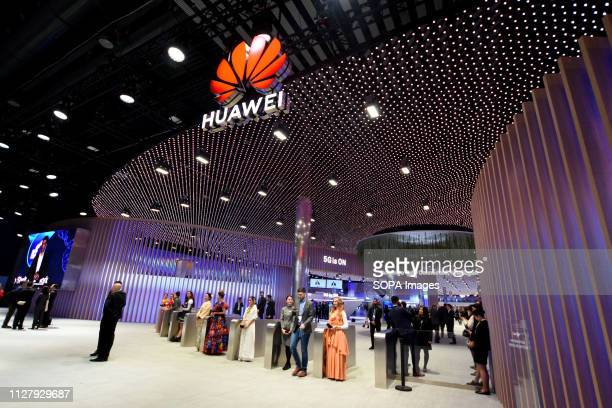 L´HOSPITALET CATALONIA SPAIN A view of the Conference headquarters of Huawei at the Mobile World Congress 2019 in Barcelona
