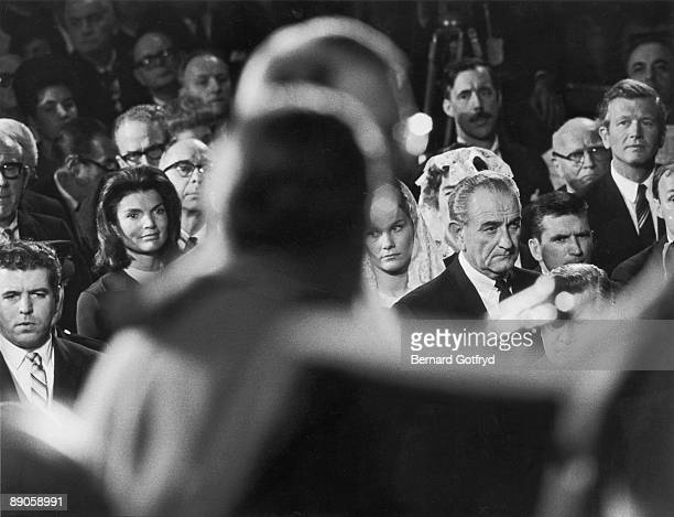 View of the congregation at the mass for Robert F Kennedy at St Patrick's Cathedral New York New York June 1968 Among the attendees are American...