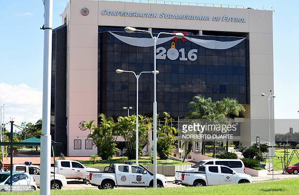 View of the Conmebol headquarters in Luque Paraguay on January 7 during a raid by a judge and two prosecuting attorneys within the framework of the...