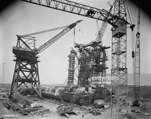 View of the construction of an oil platform at Graythorp, showing cranes around the emerging structure. In the early 1970s Laing Pipelines Offshore...