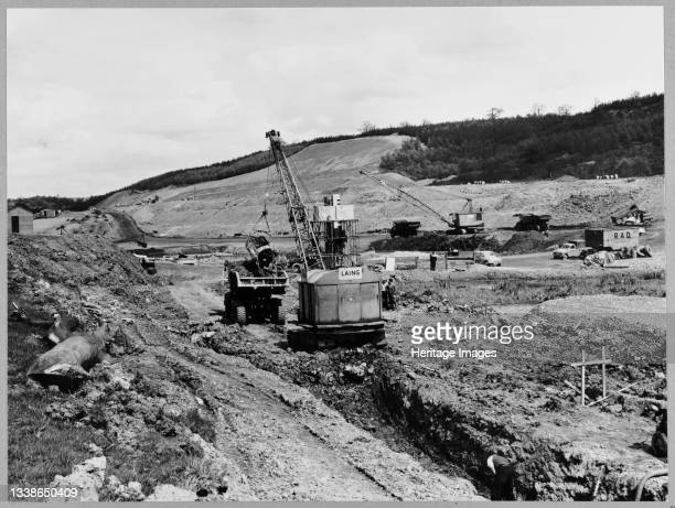 View of the construction of the Birmingham to Preston Motorway , looking north-west at Walton's Wood near Madeley Heath, on Section D of the...