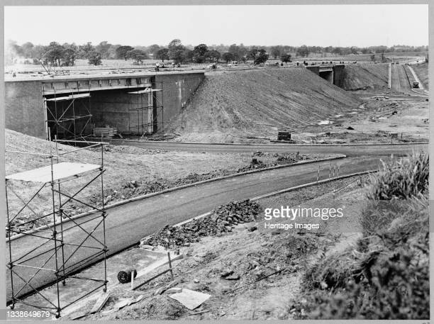 View of the construction of the Birmingham to Preston Motorway , looking north on the east side of the roundabout at Junction 16 at the Cheshire...