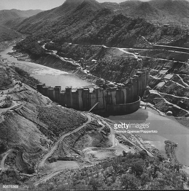 View of the construction of the Kariba Dam.