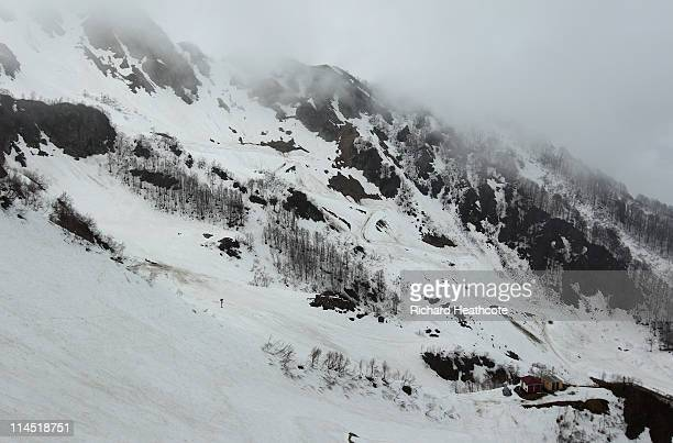 A view of the construction of the Rosa Khutor Alpine Centre in the Mountain Cluster of Krasnaya Polyana which will host the Alpine Skiing on May 20...