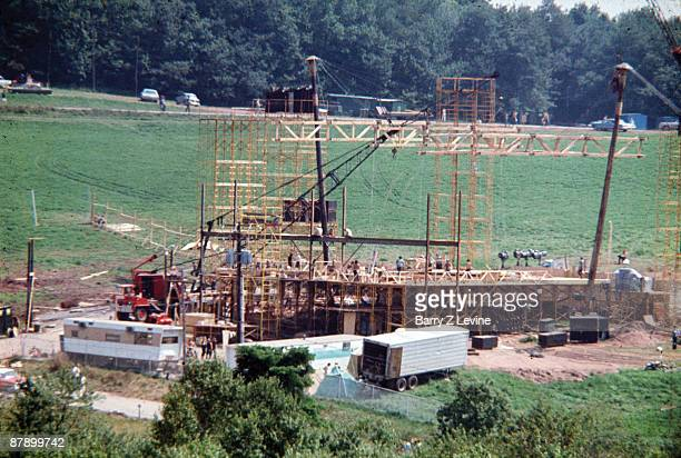 View of the construction of the stage at the Woodstock Music and Arts Fair in Bethel New York early August 1969 The festival ran from August 15...