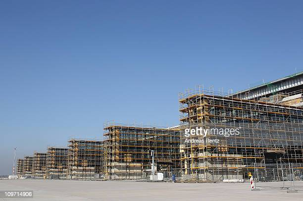 View of the construction site at the main terminal of the new Airport Berlin Brandenburg International BBI is pictured on March 2 2011 in Schoenefeld...